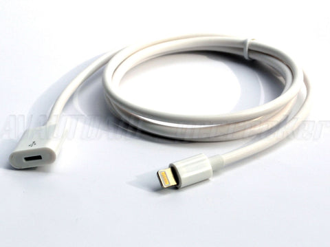 Image of iPhone 5 6 7 8 X Lightning Dock Extension Extender Cable - Black or White