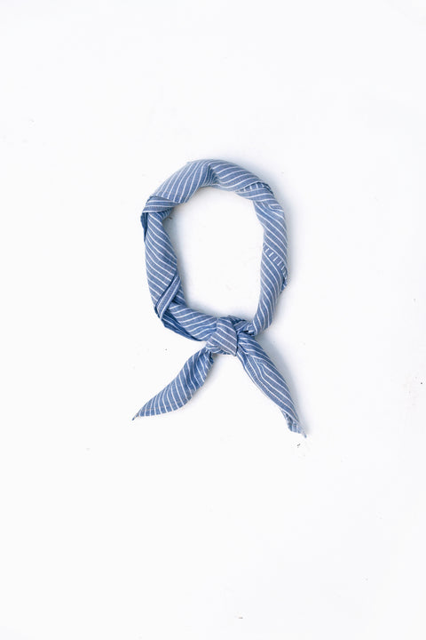 the Handkerchief in Blue + White Stripes
