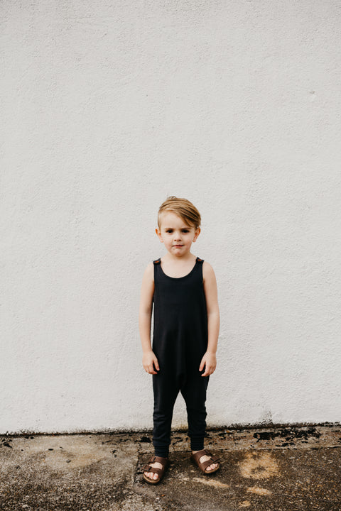 the Scout Romper in Off Black