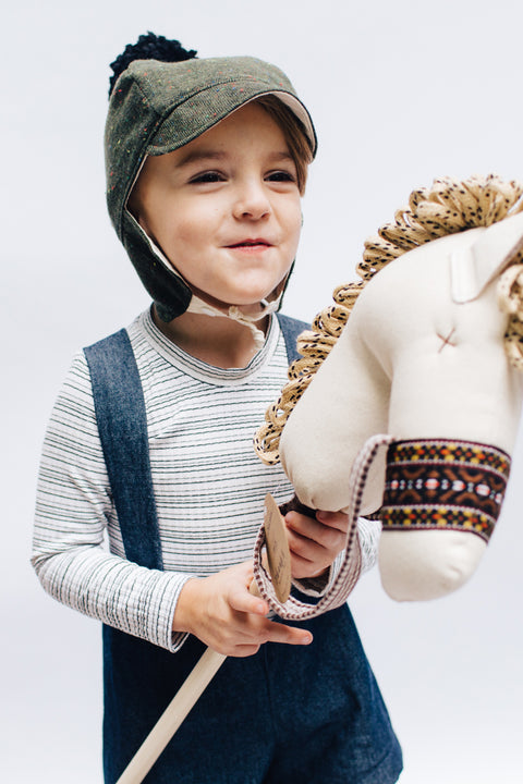 Lucky: the Stick Horse in Natural Denim with Vintage Trim