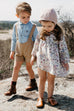 the Suspender Shorts in Khaki (One left: Size 2T)