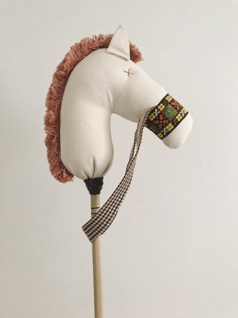 Sandy: the Stick Horse in Natural Denim with Vintage Pink Mane