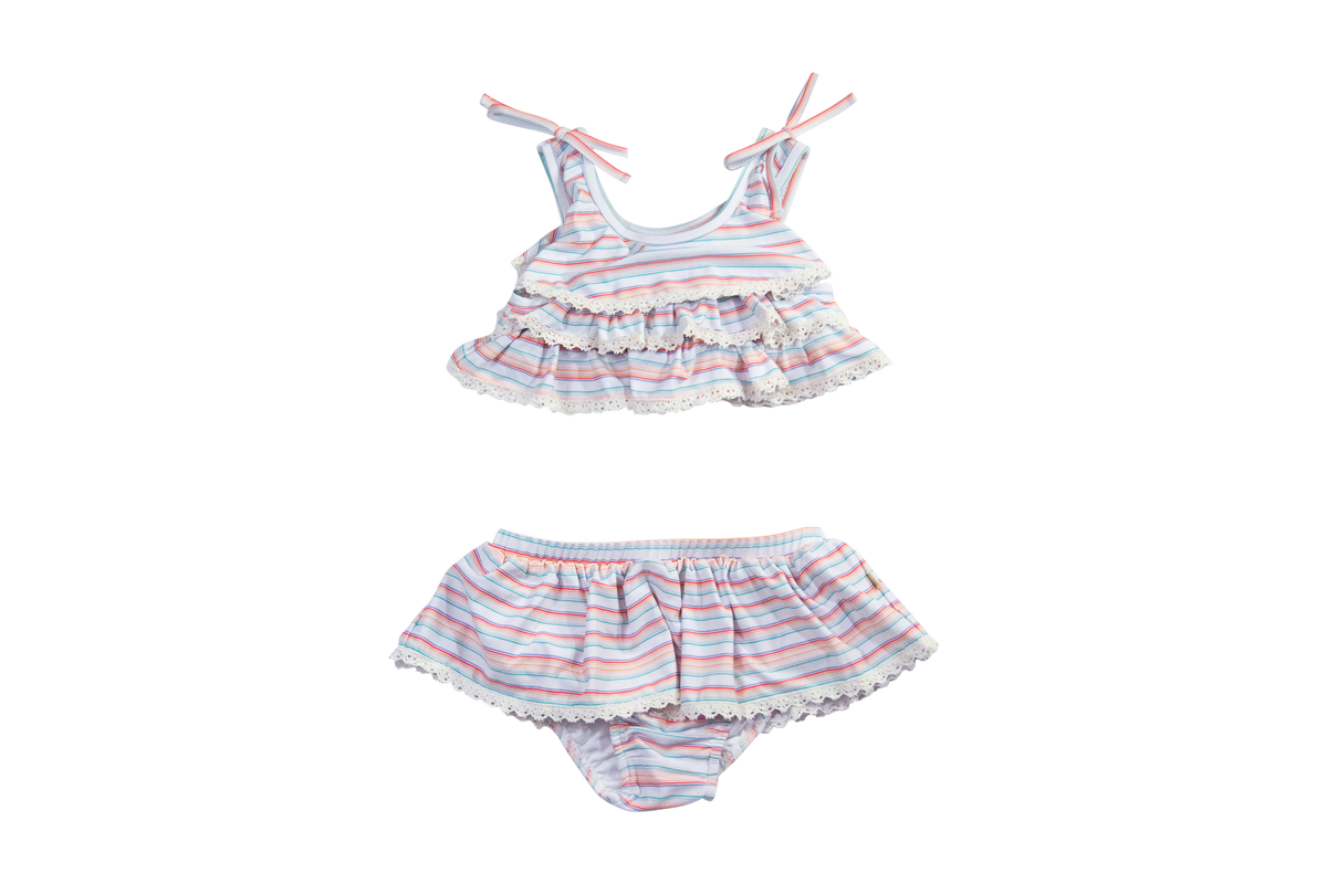 Tiered Two Piece in Retro Rainbow Stripe