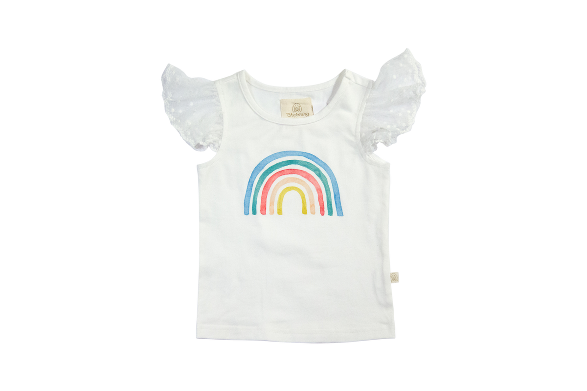 Tally Tee in Watercolor Rainbow