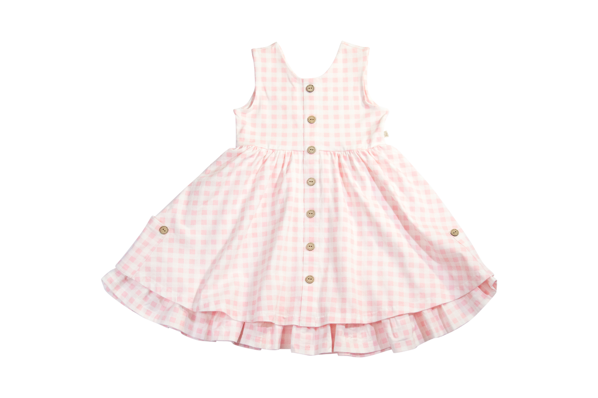 Chessie Twirl Dress in Pink Gingham
