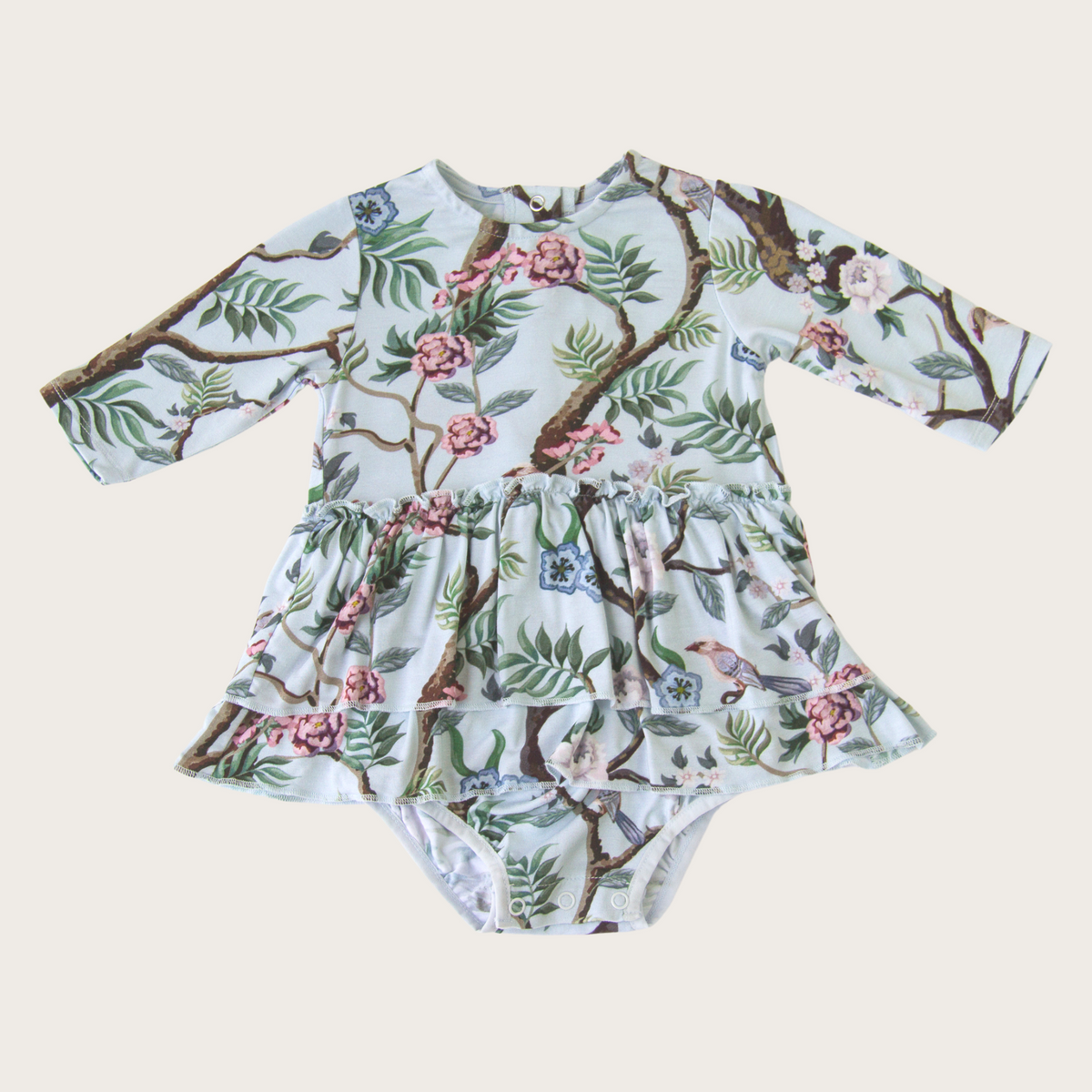 Peony Chinoiserie Bamboo Viscose Skirted Bodysuit