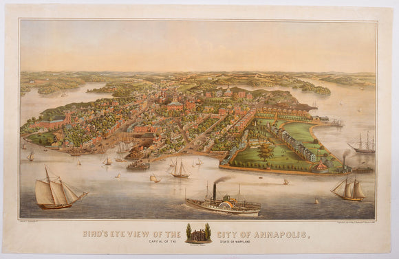 SACHSE, EDWARD & CO. Bird's Eye View of the City of Annapolis, the Capitol of Maryland.
