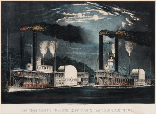 CURRIER AND IVES, Publishers Midnight Race on the Mississippi
