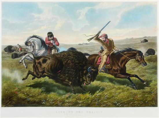 CURRIER AND IVES, publishers (after Arthur Fitzwilliam Tait, 1819-1905) Life on the Prairie: The Buffalo Hunt