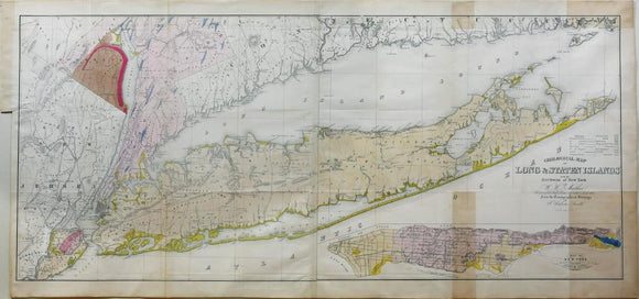 Mather, William W. (1804-1859). Geological Map of Long and Staten Island with the Environs of New York. New York, 1842.