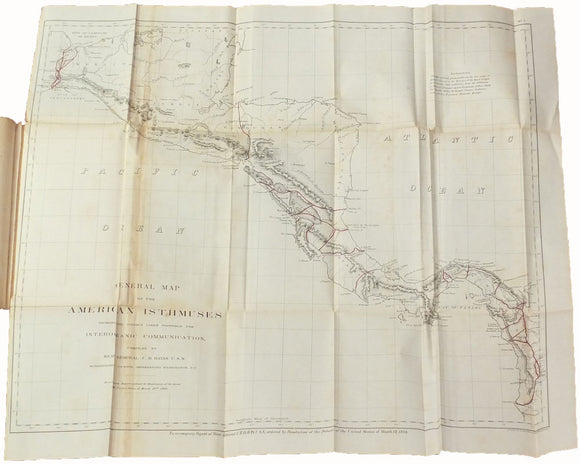 DAVIS, Rear-Admiral Charles Henry (1807-1877). Report on Interoceanic Canals and Railroads between the Atlantic and Pacific Oceans. Washington: Government Printing Office, 1867.