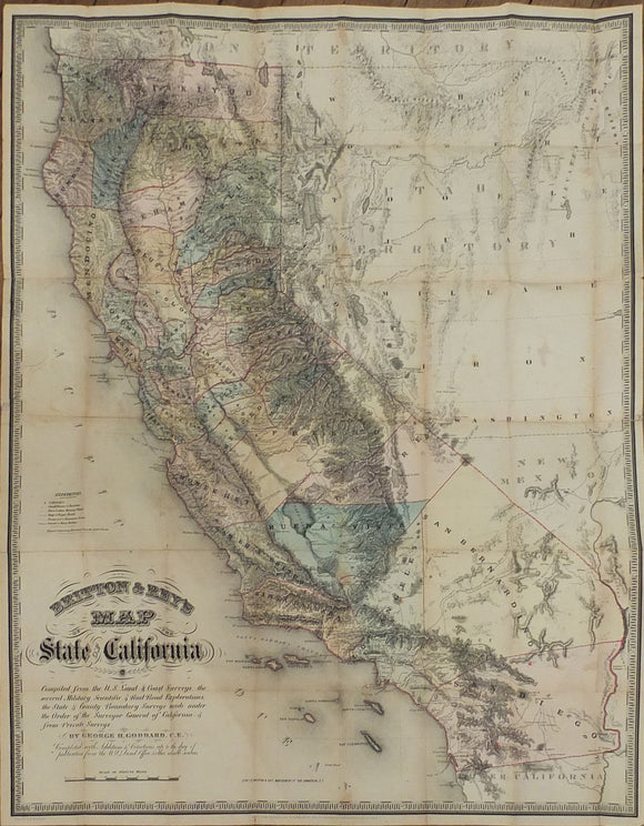 GODDARD, George H. Britton & Rey's Map of the State of California. San Francisco: Britton & Rey, 1857.
