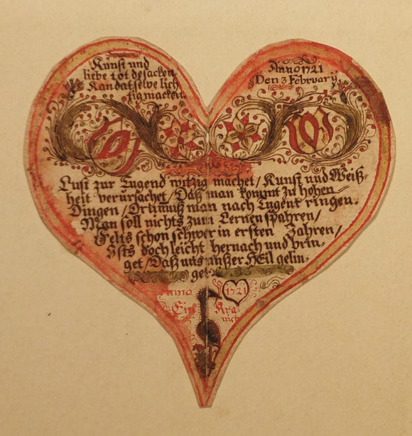 [FRAKTUR]. [Pennsylvania Dutch manuscript heart-shaped Valentine]. Pennsylvania, February 3, 1721.