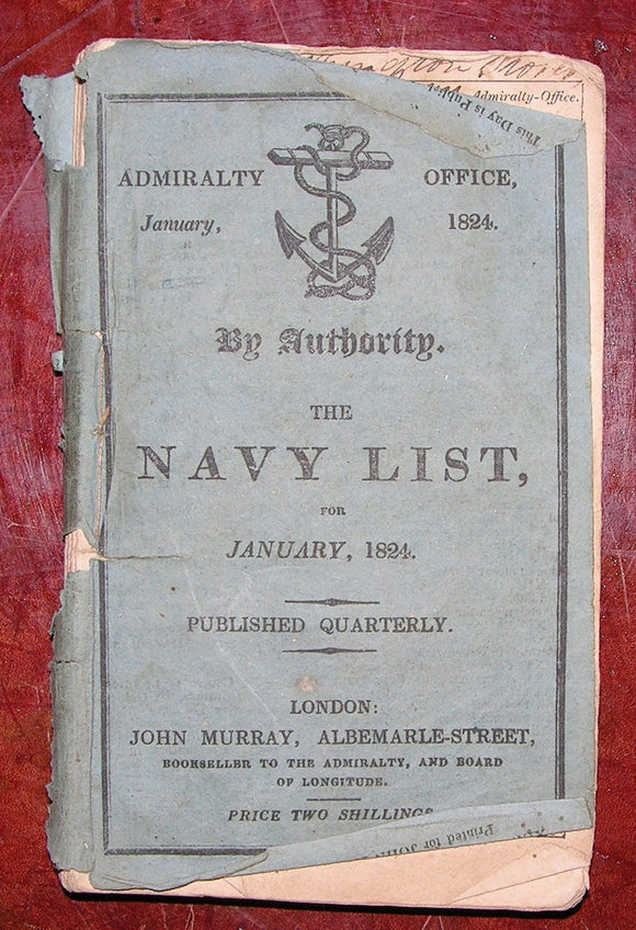 [BRITISH NAVY]. The Navy List, for January, 1824. London: John Murray, 1824.