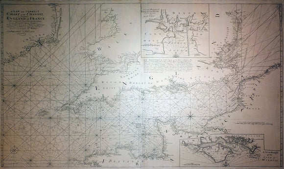 COLLINS, Capt. Greenville (1643-1694). A New and Correct Chart of the Channel between England & France... London: William Mount and Thomas Page, 1738.
