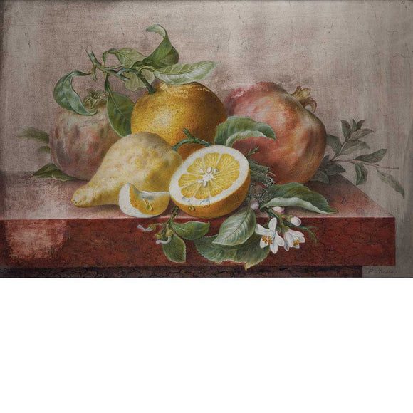 BESSA, Pancrace (1772-1846). Still Life with Oranges, Pomegranates, Leaves, a Sprig of Mint and Orange Flowers. First quarter 19th-century.