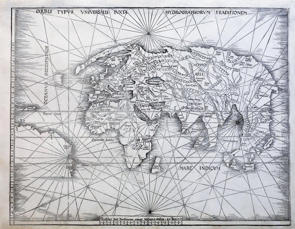WALDSEEMULLER, Martin  (1470-1520) after Claudius Ptolemaeus (After 83-ca. 168 AD). [World Map] Orbis Typus Universalis luxta hydrographorum...