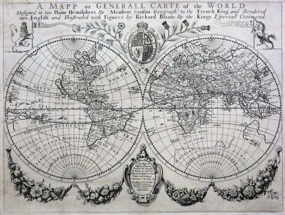 BLOME, Richard (1635-1705). A Mapp or the Generall Carte of the World Designed in Two Plaine Hemispheres by Monsieur Sanson...
