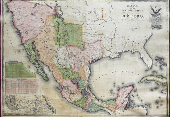 White, Gallaher & White Mapa de los Estados Unidos de Mejico. New York: Gallaher & White, 1828.