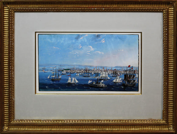 CALYO, Nicolino Vicompte (1799-1884).  View of New York. Watercolor and gouache on paper.