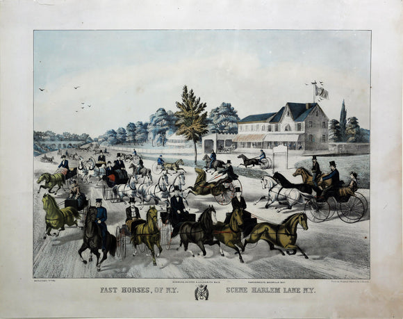 KELLY, Thomas after BEARD, J. (19th century).  Fast Horses, of N.Y. Scene Harlem Lane N.Y.