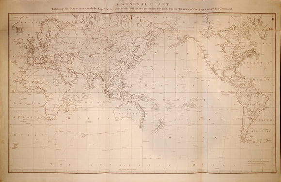 COOK, James, Capt. (1728-1779). A general chart: exhibiting the discoveries made by Captn. James Cook. London, G. Nicol and T. Cadell, 1785.