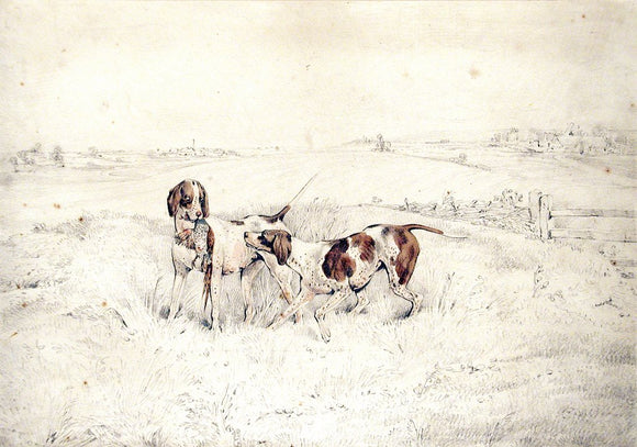 Henry Alken (British, 1785-1851) Two pointers retrieving a pheasant