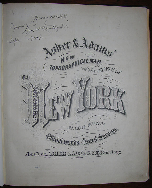 [ASHER & ADAMS]. New Topographical Map of the State of New York Made from Official Records and Actual Surveys. New York: Asher & Adams, [1869].