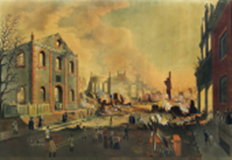 BENNETT, William J. (1784-1844).  View of the Ruins after the Great Fire in New York, Dec. 16th & 17th, 1835 as seen from Exchange Place.