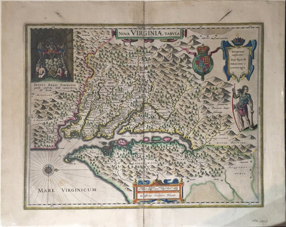 WILLEM BLAEU, Nova Virginiae Tabula, 1640 or later.