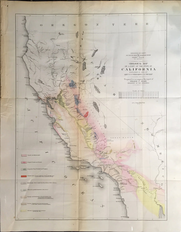 WILLIAM P. BLAKE, Geological Map of a Part of the State of California Explored in 1853 by Lieut. R.S. Williamson, 1853.