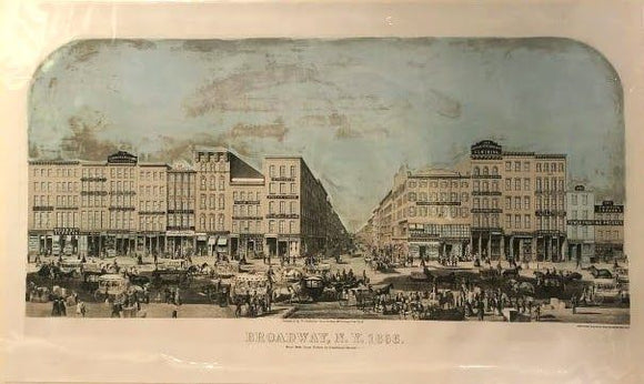 "WILLIAM BOELL (1832-after 1880) and FRANCIS MICHELIN (1809-1878): Broadway, New York, West Side from Fulton Street to Courtland Street Tinted lithograph, 24"" x 40 ½"" sheet. New York: W. Stephenson & Co., 1856."
