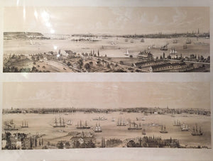 "Sketched and drawn by CHARLES W. BURTON (dates unknown): Jersey City, New York from Staten Island / New York from Staten Island, Brooklyn City. Tinted lithograph, 30 ¼"" x 41 ½"" sheet. New York: Sarony & Major, 1849."