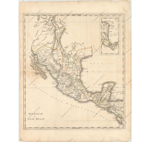 "Mathew Carey ""Mexico or New Spain"" From Carey's General Atlas Philadelphia, 1814"