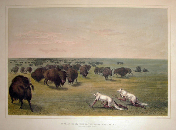 catlin-george-1796-1872-plate-no-13-buffalo-hunt-under-the-white-wolf-skin