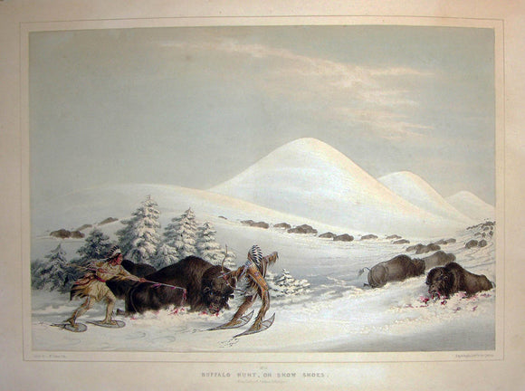 catlin-george-1796-1872-plate-no-15-buffalo-hunt-on-snow-shoes