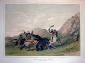 catlin-george-1796-1872-plate-no-19-attacking-the-grizzly-bear