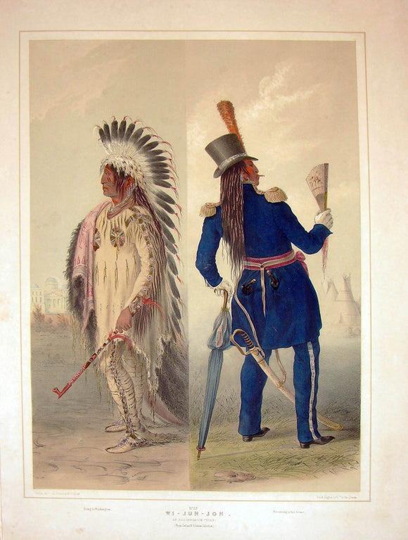 catlin-george-1796-1872-plate-no-25-wi-jun-jon-an-assiniboine-chiefgoing-to-washingtonreturning-to-his-home