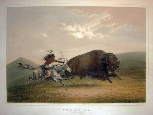 CATLIN, George (1796-1872). Plate No. 5 Buffalo Hunt, Chase