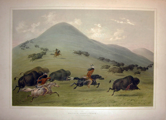 CATLIN, George (1796-1872). Plate No. 6 Buffalo Hunt, Chase
