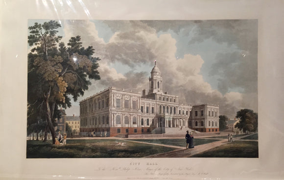 WILLIAM GUY WALL (1792-1864), engraved by JOHN HILL (1770-1850): City Hall / To the Honorable Philip Hone, Mayor of the City of New York...Servant W. G. Wall. Engraving with original hand color...New York: Charles Behr, Frederick Kahl, Dec. 20, 1826.