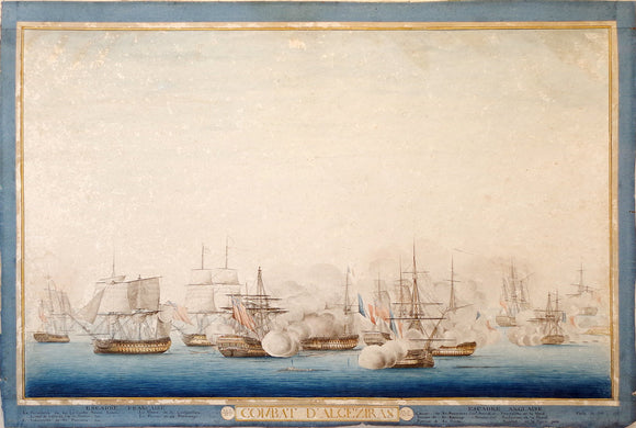 [NAPOLEONIC WARS - THE BATTLE OF ALGECIRAS BAY]. Fine Original Watercolour Drawing of the Battle of Algeciras, Combat d'Algeziras, 6th July, 1801 - 17 Messidor An 9. [ca 1801-1810].