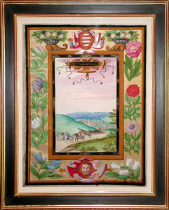 ADRIEN DE MONTIGNY (FRENCH, C1570-1615) Houvelin Cartouche: Le Villaige de Houvelin Watercolor and gouache on vellum