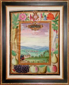 ADRIEN DE MONTIGNY (FRENCH, C1570-1615) Rumel Cartouche: Le Villaige de Rumel. 1597 Watercolor and gouache on vellum