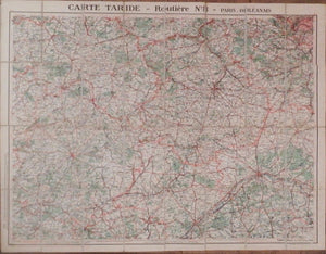 FRANCE. Carte Taride - Routiere No. 8 - Paris Orleanais. Paris: Gaillac-Monrocq et Cie, ca 1920s