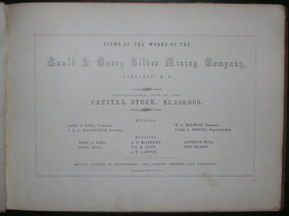 [COMSTOCK LODE]. Views of the Works of the Gould & Curry Silver Mining Company, Virginia City, N. T. San Francisco: Britton & Co., [ca 1860].