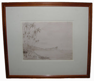 dale-lt-john-b-1814-1848-original-watercolour-drawing-of-the-view-along-waikiki-beach-near-diamond-head-oahu-hawaiin-islands-november-1845