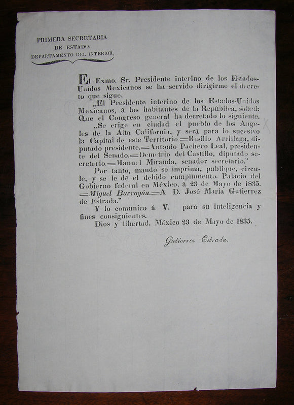 [CALIFORNIA]. BARRAGAN, Miguel (1789-1836). Presidential Decree: