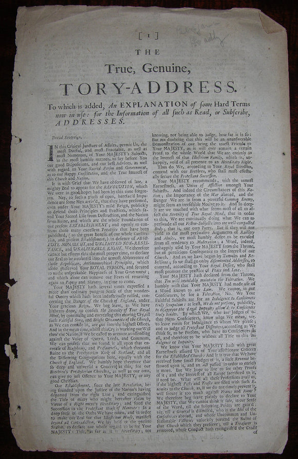 HOADLY, Benjamin (1676–1761). The True, Genuine, Tory-Address. London: A. Baldwin, 1710.