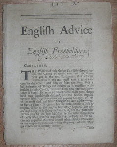 [?ATTERBURY, Francis (1663-1732)]. English Advice to English Freeholders. No place, no date, but probably 1705.